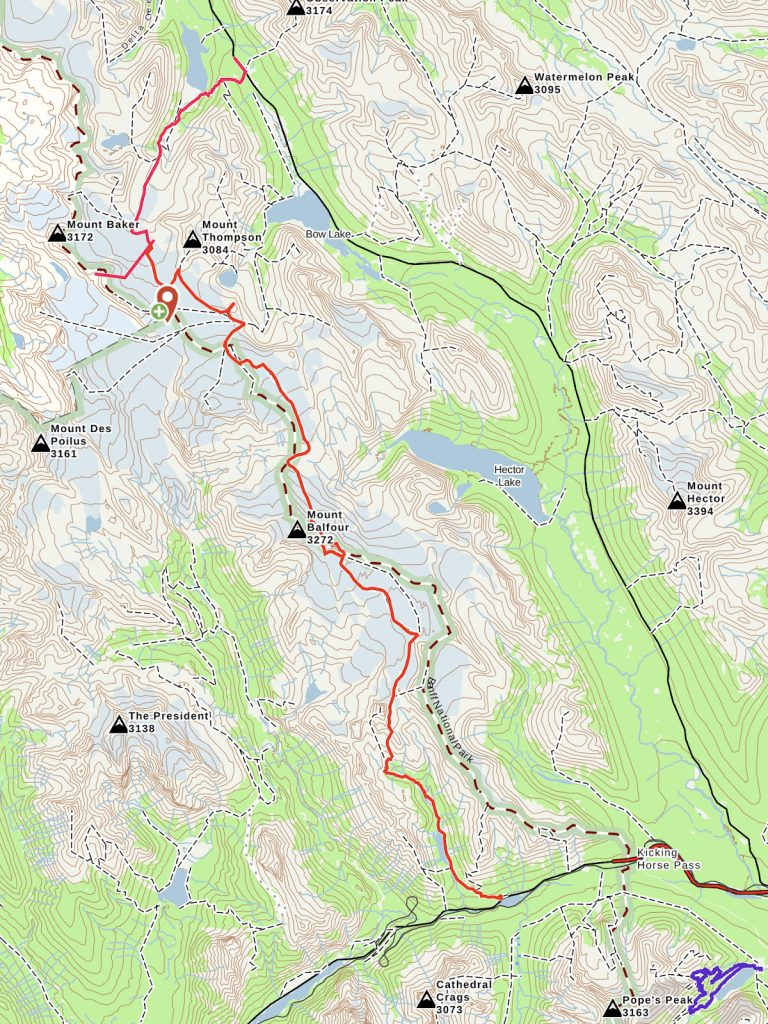 map of wapta traverse backcountry ski trip