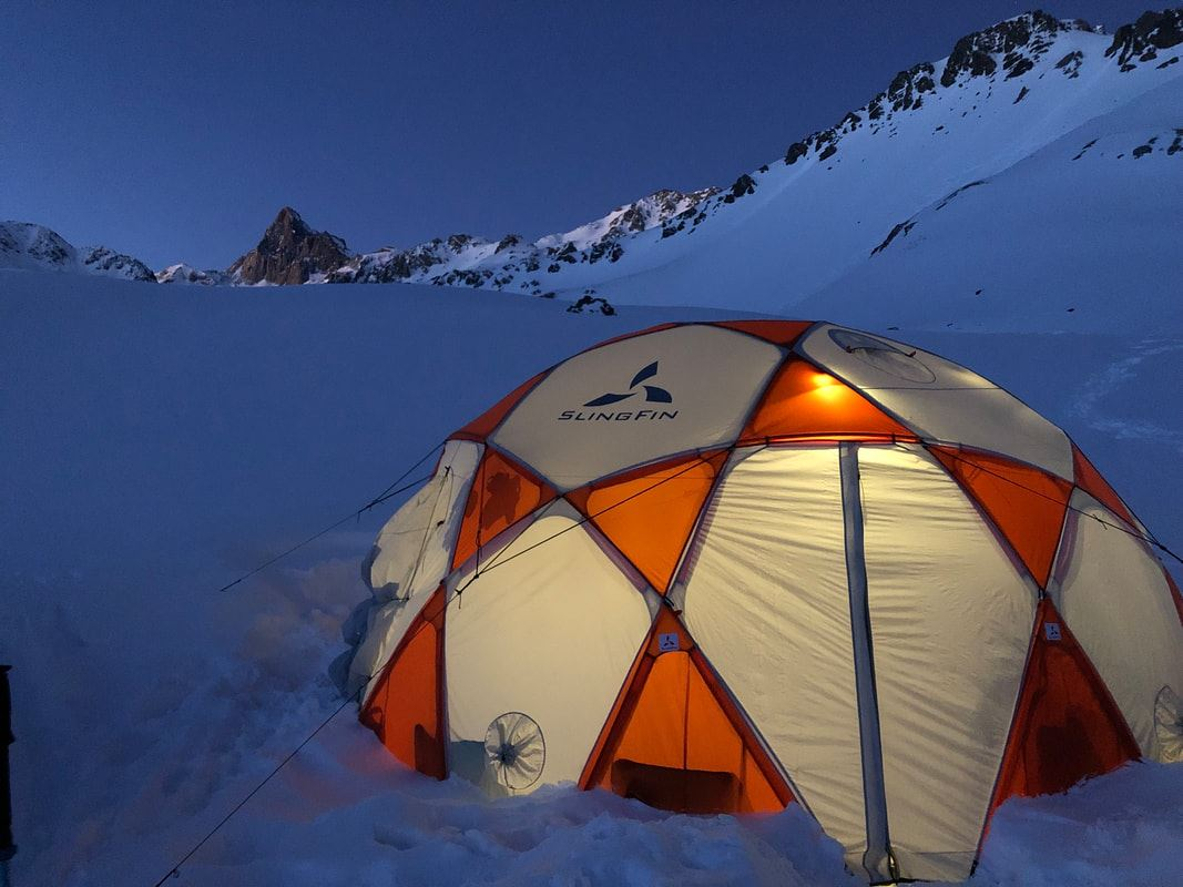 winter base camp tenting in the backcountry